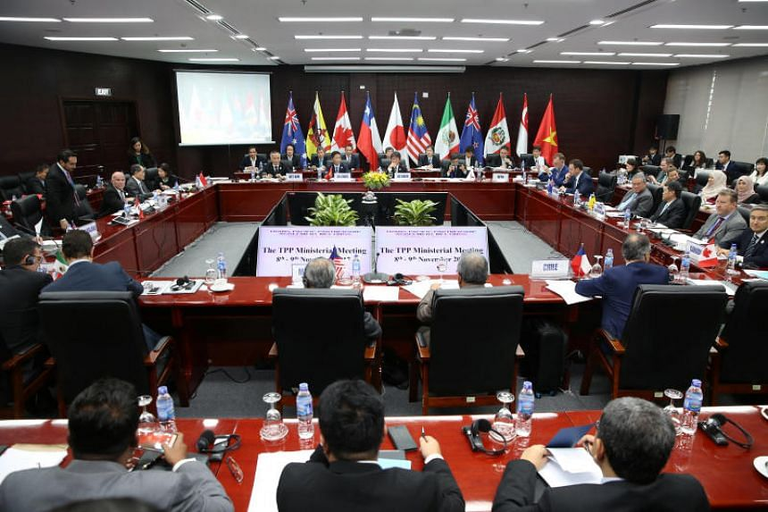 Trade ministers and delegates from members of the Trans-Pacific Partnership (TPP) at a ministerial meeting in Da Nang, Vietnam, on Nov 9, 2017.