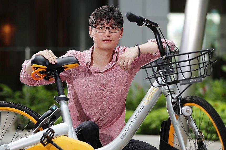 Multiple offence notices seen yesterday at oBike's now defunct office window for failure to remove illegally parked bicycles and causing obstruction in common areas. oBike founding investor and chairman Shi Yi says the firm has turned to its sharehol