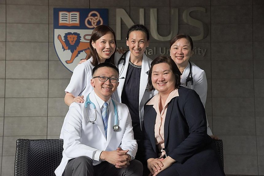 They are certified collaborative prescribing practitioners (clockwise from left, back row): Principal clinical pharmacist at National University Hospital Associate Professor Priscilla How; registered advanced practice nurse and senior lecturer at NUS