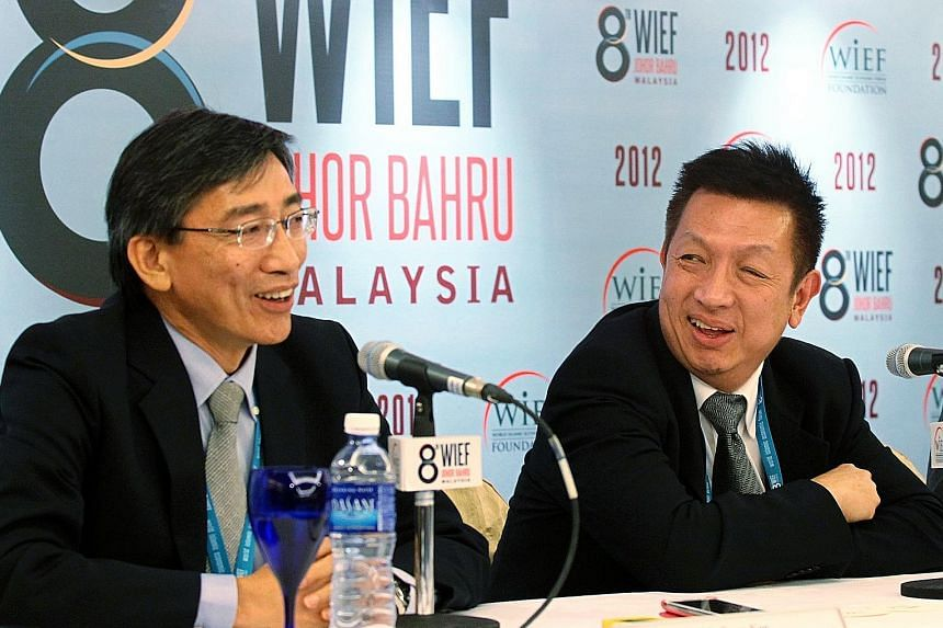 FASTrack director Barry Kan (left) with project majority owner Peter Lim at a 2012 press event to announce the building of the race track.