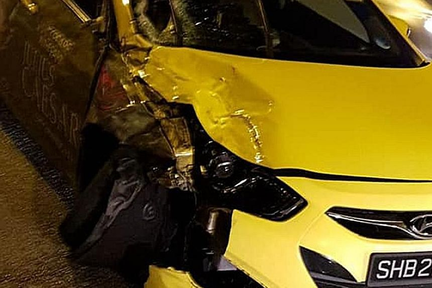 Photos of the accident were shared on Facebook over the weekend. One showed a CityCab taxi (left) dented on its right side, with a flat tyre, and others showed the motorcycle on the ground.