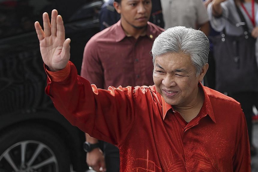 Datuk Seri Ahmad Zahid Hamidi arriving at the Malaysian Anti-Corruption Commission headquarters in Putrajaya yesterday.