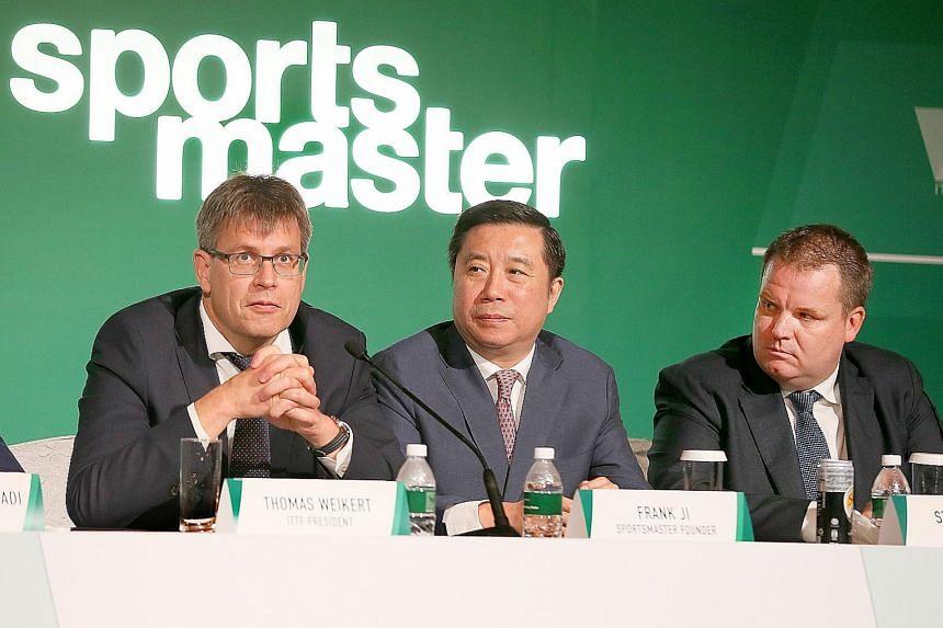 From left: ITTF president Thomas Weikert, Sportsmaster founder Frank Ji and ITTF CEO Steve Dainton at yesterday's launch.