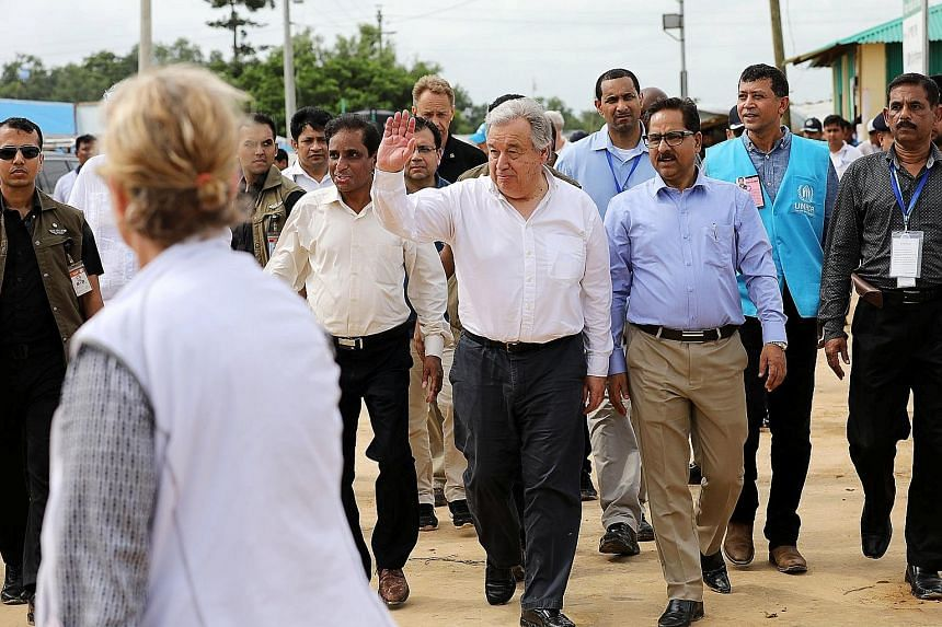 UN chief Antonio Guterres visiting the Kutupalong refugee camp in Cox's Bazar, Bangladesh, yesterday.