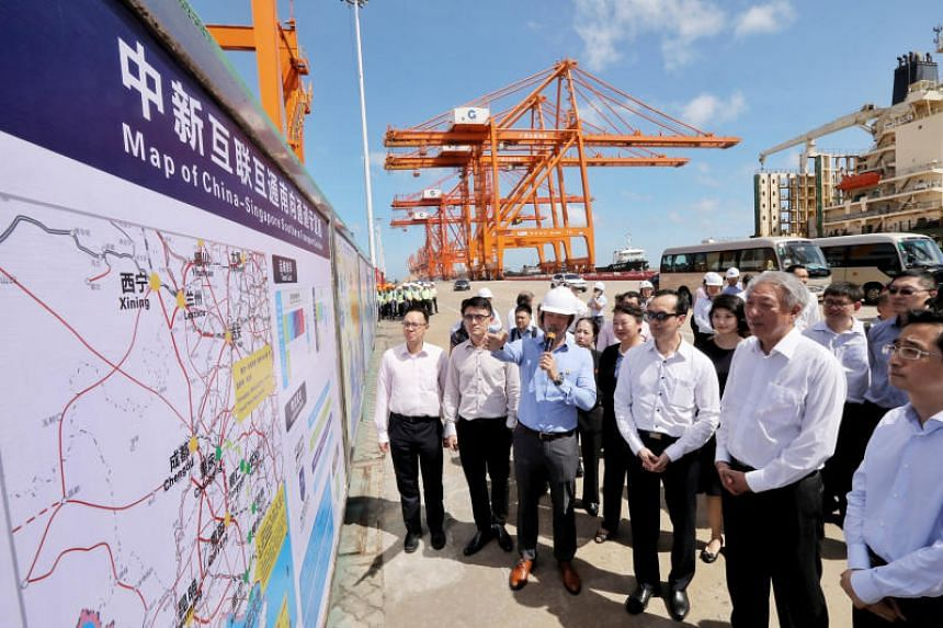 Deputy Prime Minister Teo Chee Hean visiting the Qinzhou port at the Beibu Gulf (Gulf of Tonkin) on July 3, 2018.