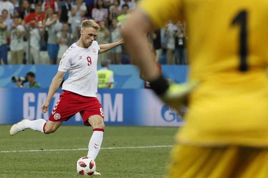 Nicolai Jorgensen of Denmark fails to score during the penalty shootout of the Fifa World Cup 2018 round of 16 soccer match between Croatia and Denmark in Nizhny Novgorod, Russia, on July 1, 2018.