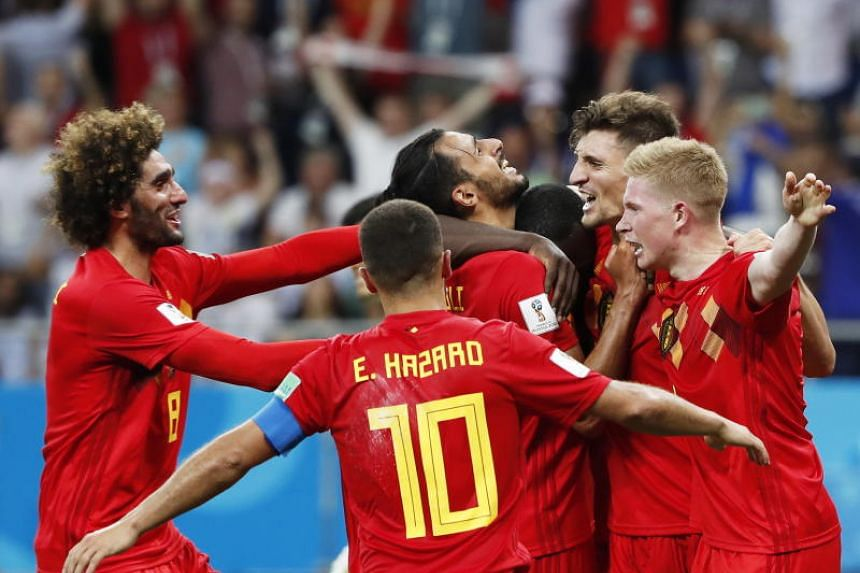 Nacer Chadli of Belgium (centre) is celebrated by teammates after scoring the winning goal during the Fifa World Cup 2018 round of 16 soccer match between Belgium and Japan in Rostov-On-Don, Russia, on July 2, 2018.