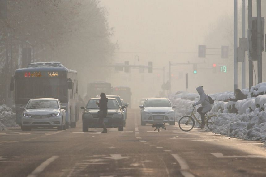 Pedestrians crossing the road on a polluted day in Nanjing. China has launched a number of pilot programmes in trading permits for pollutants and carbon emissions.