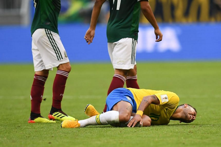Neymar's exaggerated reaction - the player dramatically writhed on the turf after Layun approached him - suggested a repeat of the play-acting that marred his performance in the group phase.