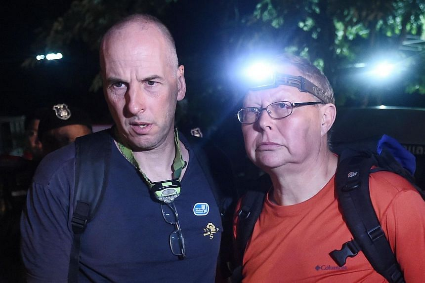 British cave-divers Richard William Stanton (left) and Robert Charles Harper, who were the first to reach the boys stranded in the Tham Luang cave, on July 2, 2018.