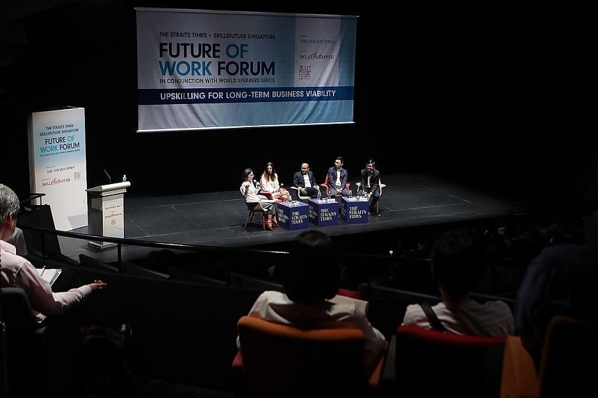 (From left) The Future of Work Forum was moderated by Straits Times' head of training and talent development Lydia Lim, and making up the panel were Google Singapore country director Stephanie Davis, head of Deloitte's Future of Work Centre of Excell