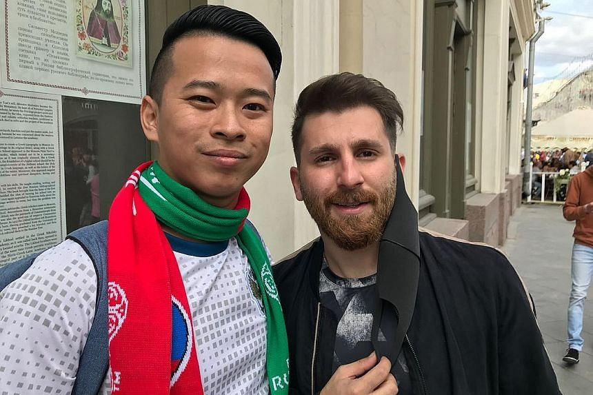 ST sports correspondent David Lee taking a wefie in Moscow with Reza Parastesh, a 25-year-old Iranian who has become a celebrity in his own right as Lionel Messi's doppelganger.