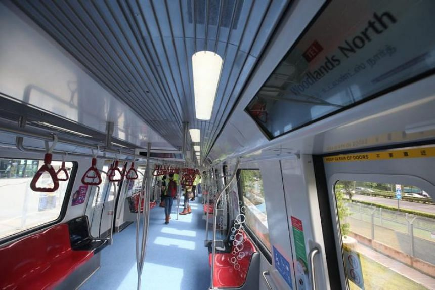About 60 of the fleet of 91 four-car trains will also have tip-up seats, which will offer more standing space for commuters during rush hours. There will be 10 rows of tip-up seats per train, making up 25 per cent of the seat bays.