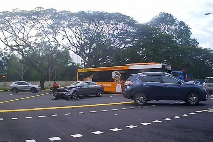 In a video uploaded on Facebook page Cyclists' Message To Drivers, a dark-coloured sedan car is seen stationary in a yellow box, at the junction of Clementi Road and Clementi Avenue 2.