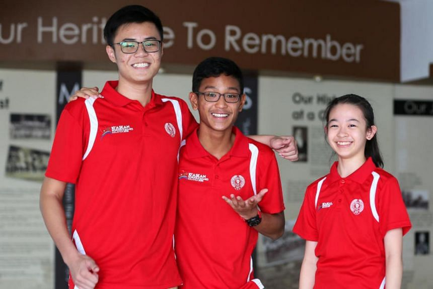 (From left) Basketball player Kovan Toh, 16, sprinter Mohamed Ishal Zikang Yousoof, 16, and rhythmic gymnast Abie Chi, 12, are among the 190 student-athletes from 40 schools representing Singapore at  the 10th Asean Schools Games in Kuala Lumpur from