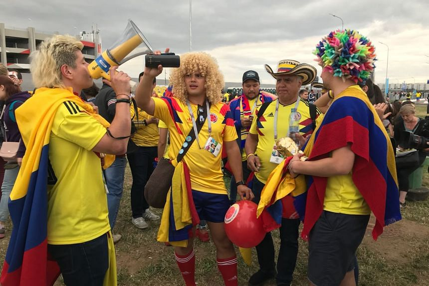 Colombia fans in buoyant mood before their heartbreaking last-16 penalty shoot-out loss to England.