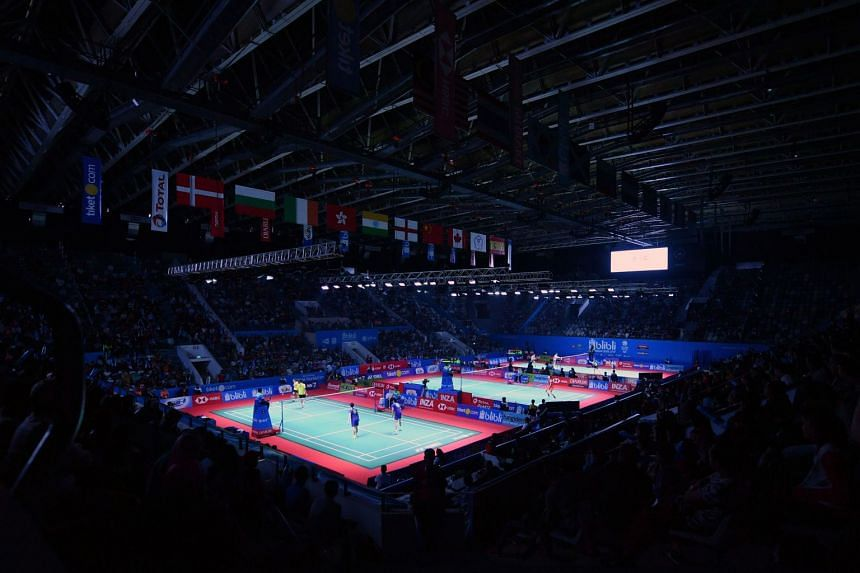A general view of badminton matches taking place on the courts during the Indonesia Open in Jakarta on July 3, 2018.