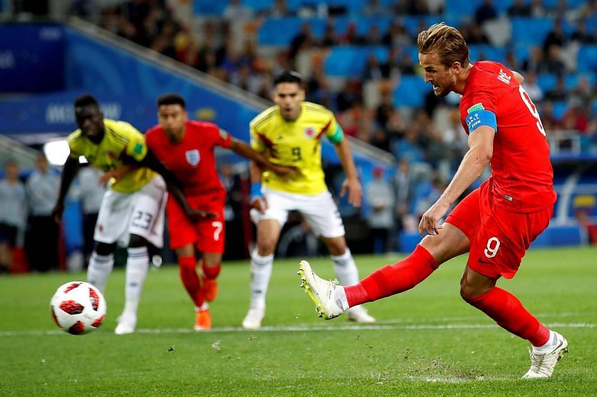 Harry Kane of England scoring a penalty during the FIFA World Cup 2018 round of 16 football match between Colombia and England in Moscow, Russia, on July 4, 2018.