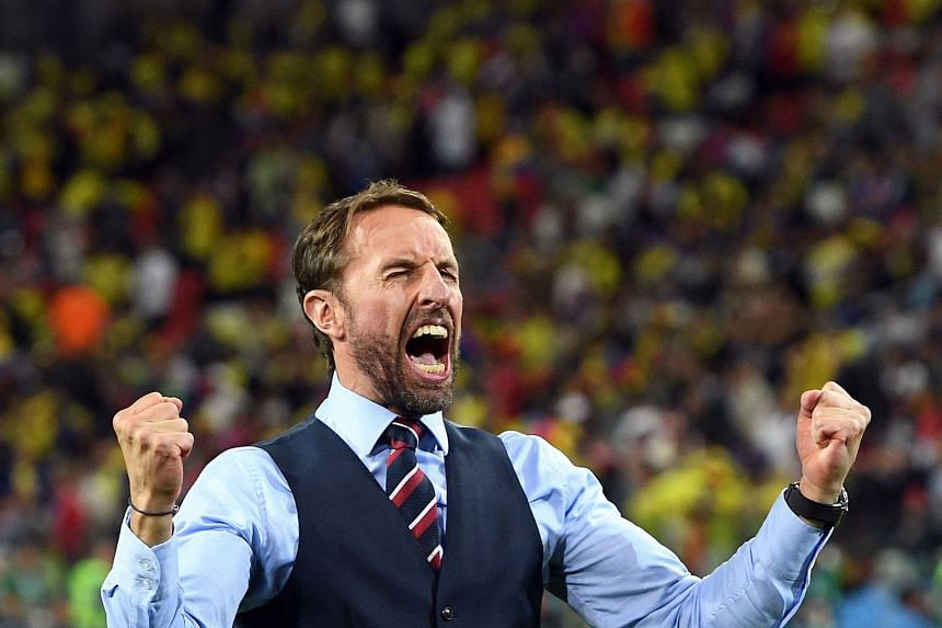 England's manager Gareth Southgate reacts after winning the penalty shootout during the World Cup 2018 round of 16 soccer match between Colombia and England in Moscow, Russia, on July 3, 2018.