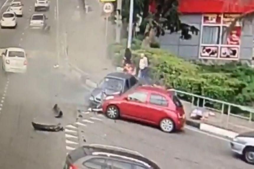 A screenshot from a video posted online after the incident.