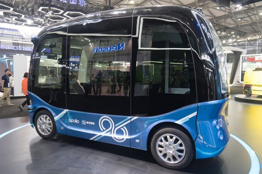 An Apolong self-driving mini bus is exhibited at the Consumer Electronics Show Asia in Shanghai on June 13, 2018.