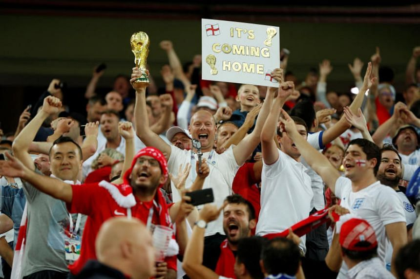England fans celebrate after the match between Colombia and England in Spartak Stadium, Moscow, Russia, on July 3, 2018.
