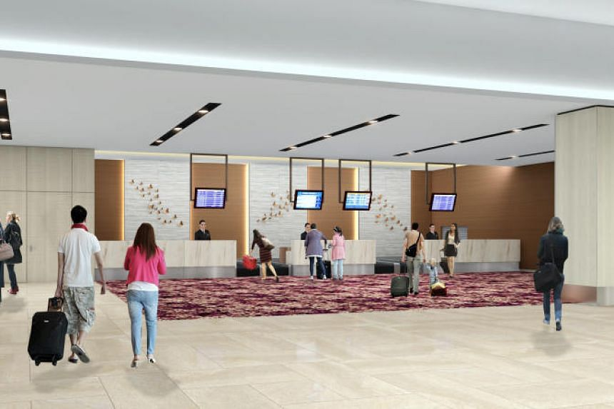 An artist's impression of the check-in counters.