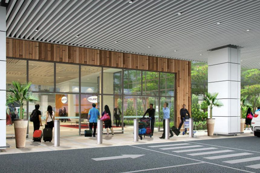 An artist's impression of the kerbside at the departure area.