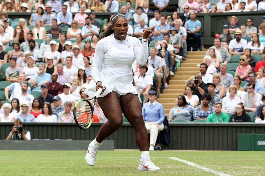 Williams reacts after beating Viktoriya Tomova of Bulgaria.