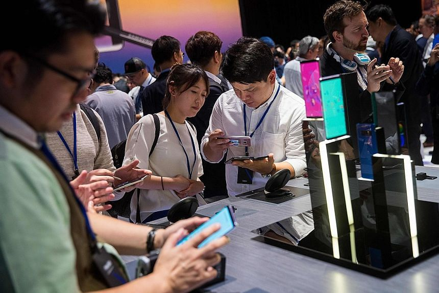 A launch event in New York City for the Samsung Galaxy Note8 smartphone last year. Samsung's latest Galaxy S9, launched in mid-March, is on track to sell fewer units in its launch year than its predecessor Galaxy S8 series sold after its debut, analy