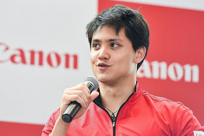 Joseph Schooling speaking during yesterday's event where he was introduced as Canon's brand ambassador. The national swimmer says corporate sponsorships and support are very important for an athlete's success.