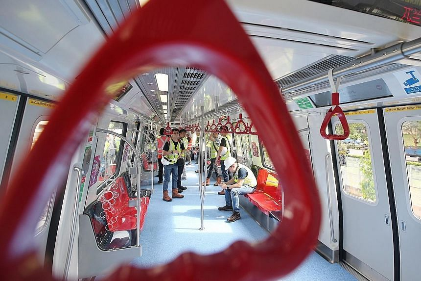 Details of the Thomson-East Coast Line train features were revealed yesterday at the Mandai Depot during a tour of the first train, which was delivered from China in May. The line will open progressively from 2019.