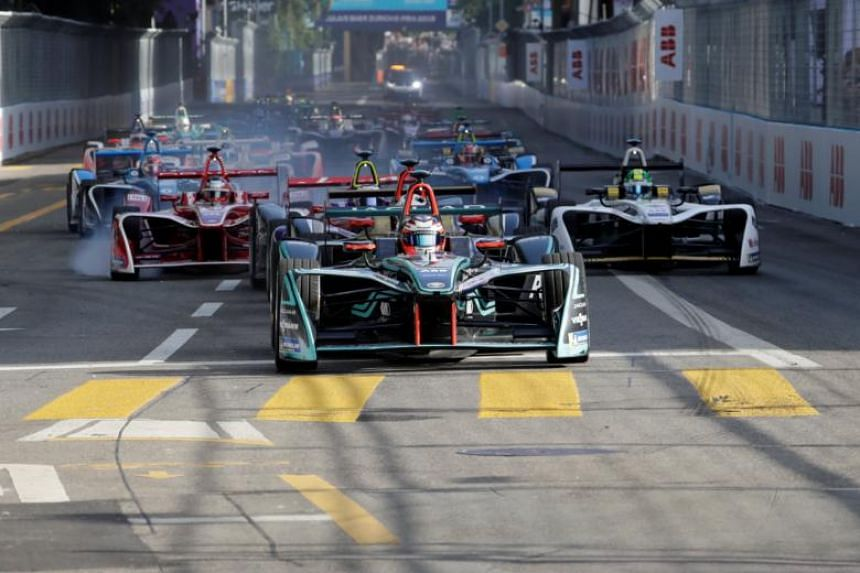 Drivers at the start of the race during the Formula E Zurich E-Prix in Zurich, Switzerland, on June 10, 2018.
