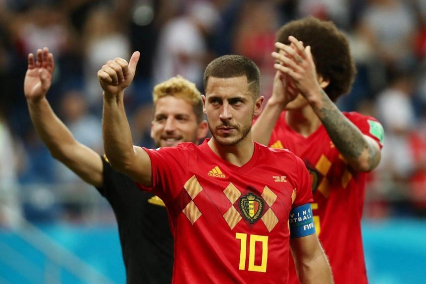 Belgium's Eden Hazard gesturing after a match against Japan at the Rostov Arena, on July 2, 2018.
