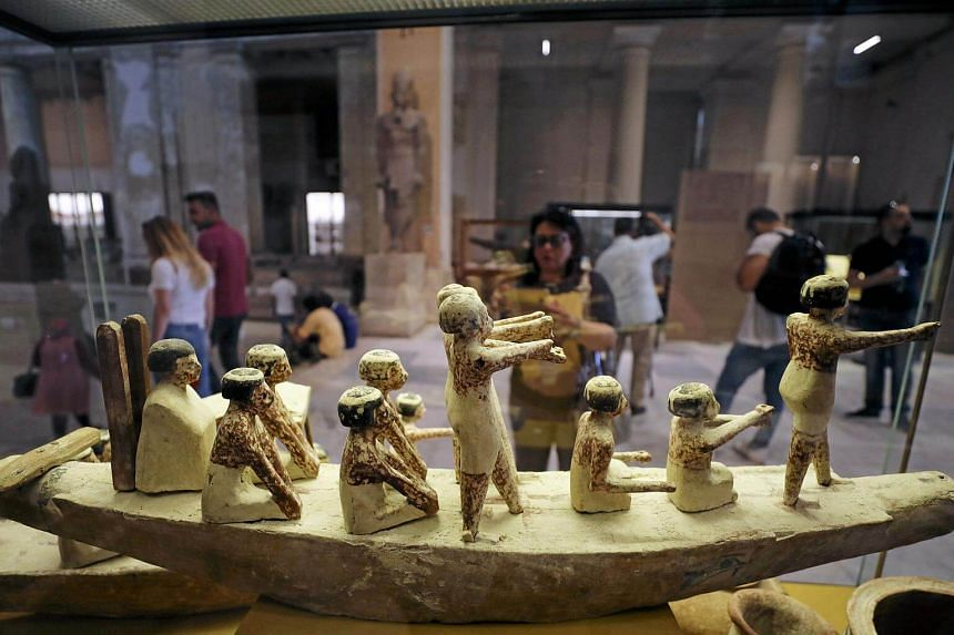 Ancient Egyptian artifacts, that were recently returned from Italy, are seen on display at the Egyptian Museum in Cairo, Egypt on July 4, 2018.
