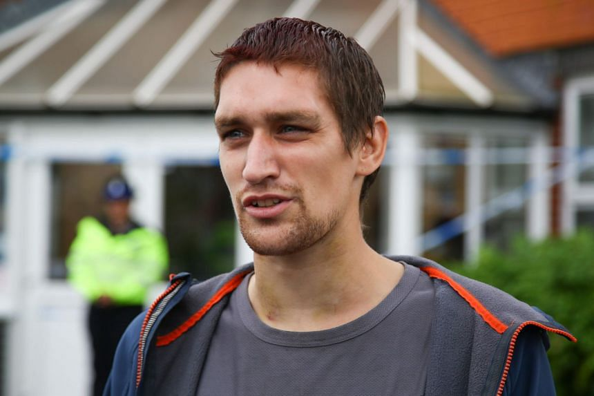 Sam Hobson talks to the media outside the Amesbury Baptist Centre in Amesbury, identifying himself as a friend of two people who were poisoned.