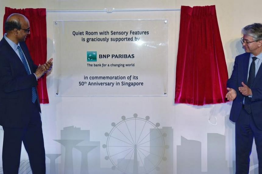 Deputy Prime Minister Tharman Shanmugaratnam (left) and Group Chief Executive Officer of BNP Paribas Jean-Laurent Bonnafe at the announcement of the National Museum's Quiet Room on July 5, 2018.