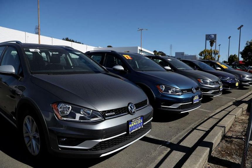 Volkswagen cars are displayed at a Volkswagen dealership in Richmond, California on Feb 23, 2018.