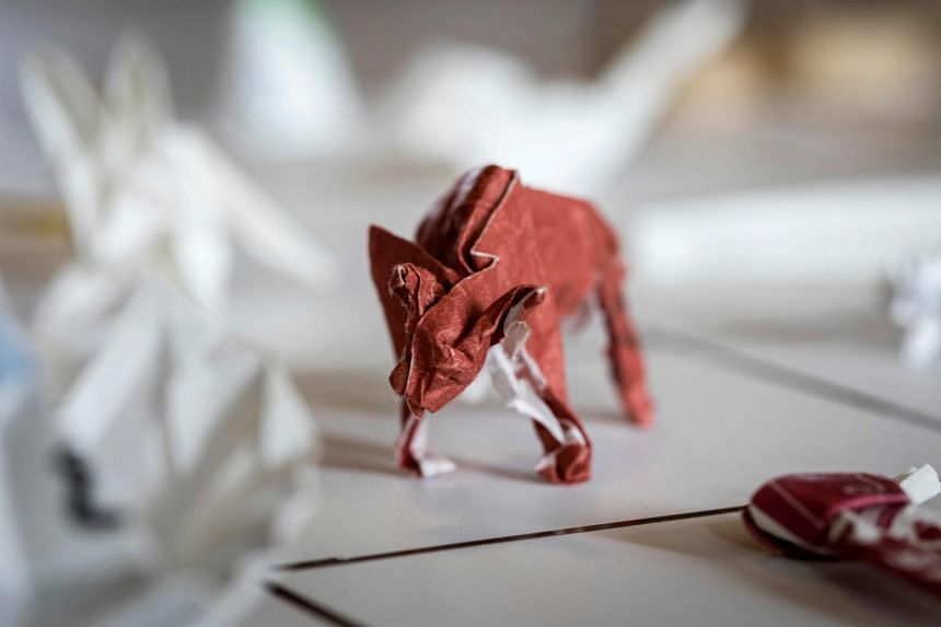 A picture taken on May 23, 2018, shows an origami made from chopstick sleeves owned by Yuki Tatsumi in Kameoka, Kyoto prefecture.
