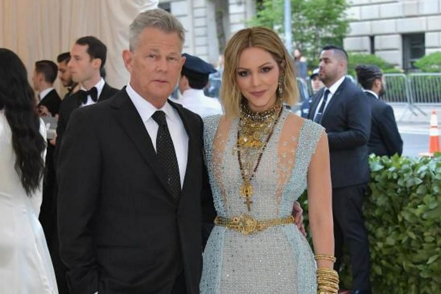 David Foster and Katharine McPhee (right) at the Heavenly Bodies: Fashion & The Catholic Imagination Costume Institute Gala at The Metropolitan Museum of Art, on May 7, 2018.
