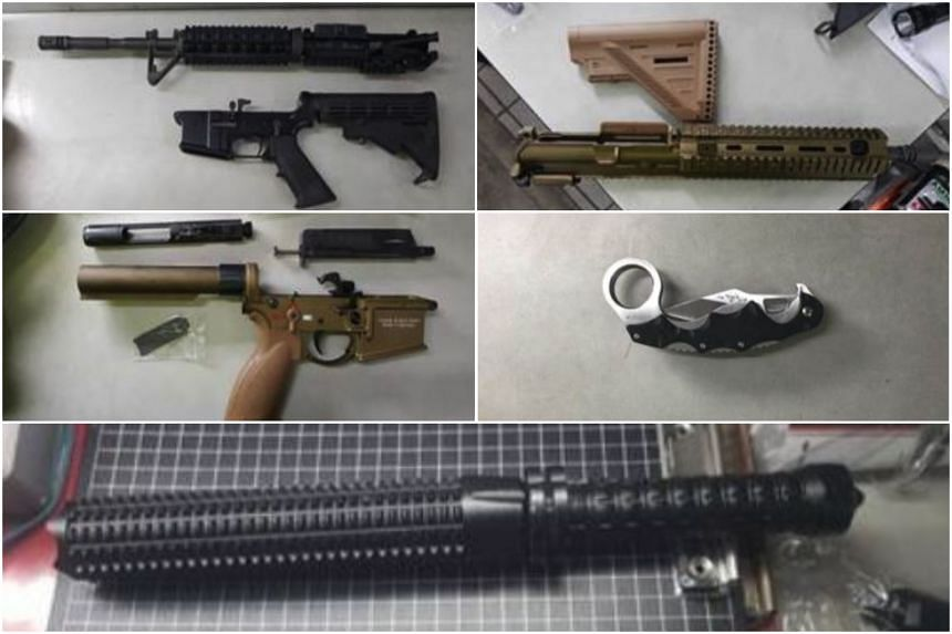Dismantled part of two sets of airsoft guns, a flick knife and a baton were seized from a car at Woodlands Checkpoint on Monday (July 2).