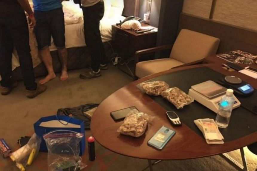 A CNB operation recovered  a large amount of heroin and cannabis from a hotel room on July 4, 2018.