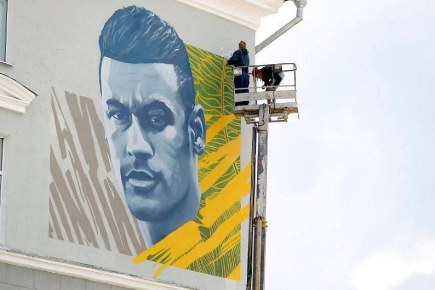 Neymar's mural has its own spot near the other official team hotel, the Mirage.