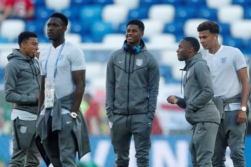 England's Jesse Lingard, Danny Welbeck, Marcus Rashford, Raheem Sterling and Dele Alli on the pitch before their match against Belgium, on June 28, 2018.