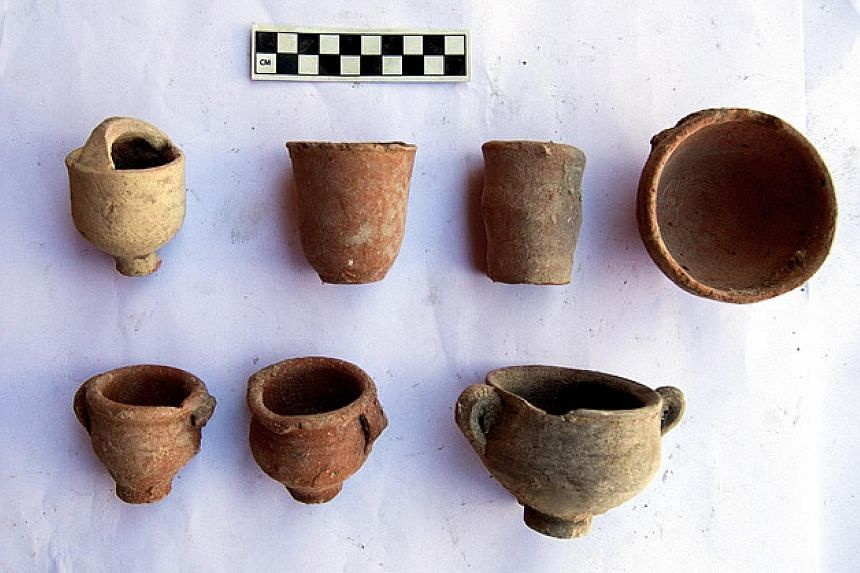 Pots from the Greek, Roman, Coptic and Islamic eras discovered during restoration work in a garden in the Greco-Roman museum of Alexandria.