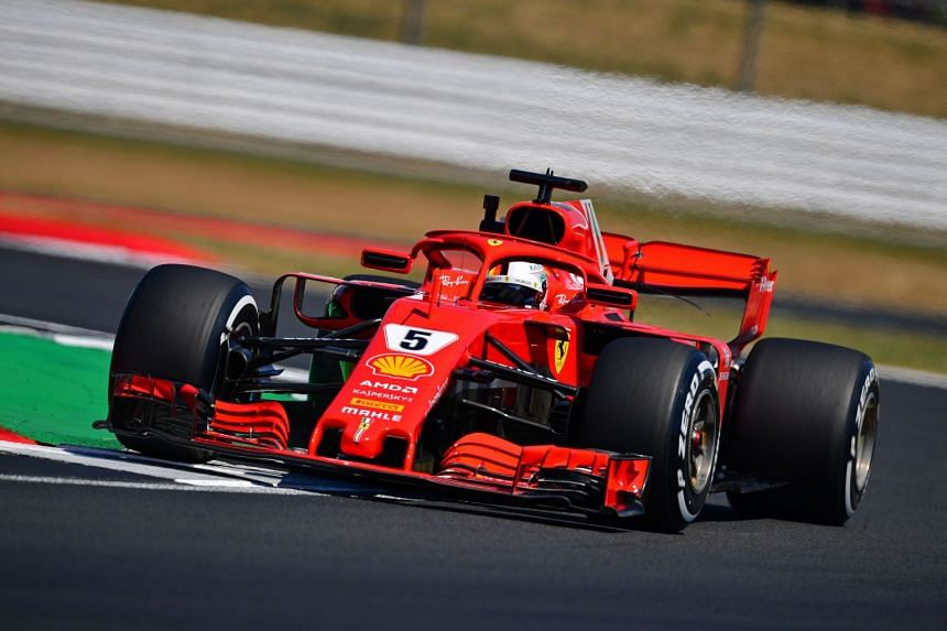 Vettel drives during the second practice session at Silverstone.