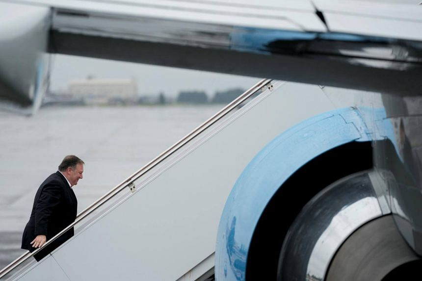 US Secretary of State Mike Pompeo arrives to board his plane to travel to Anchorage, Alaska, on his way to Pyongyang, North Korea, in Andrews Air Force Base, Maryland, on July 5, 2018.