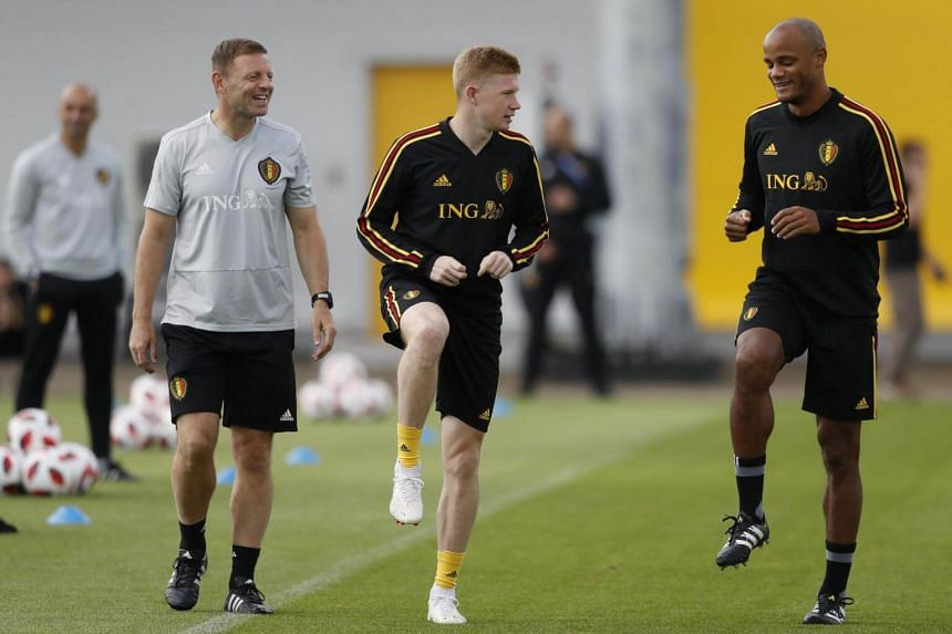Vincent Kompany (right) and Kevin De Bruyne attending a training session in Moscow, Russia, on July 5, 2018.