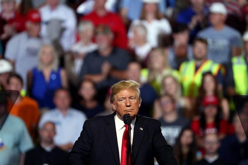 US President Donald Trump speaks during a campaign rally at the Four Seasons Arena, in Great Falls, Montana, on July 5, 2018.