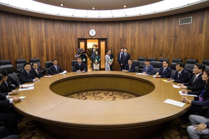 South and North Korean sports officials hold talks at the Koryo Hotel in Pyongyang, North Korea, on July 5, 2018.